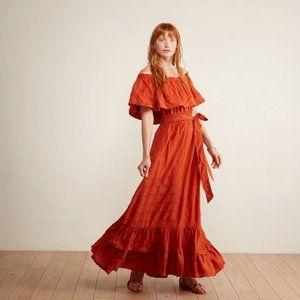 The Odells Off the Shoulder Maxi Ruffle Dress in Terracotta Rust Orange